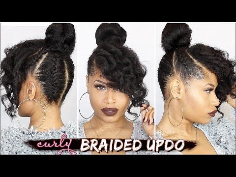 Video French Braided Curly Updo Natural Hair Tutorial